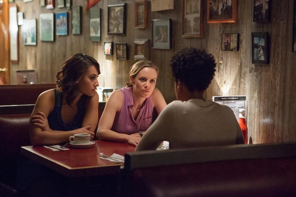 "Francia Raisa, Danielle Savre, and Christina Elmore in ""The Wrong Car,"" on Lifetime."